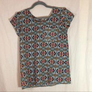 Japna Tops - Japna Tribal Print Short Sleeve Blouse